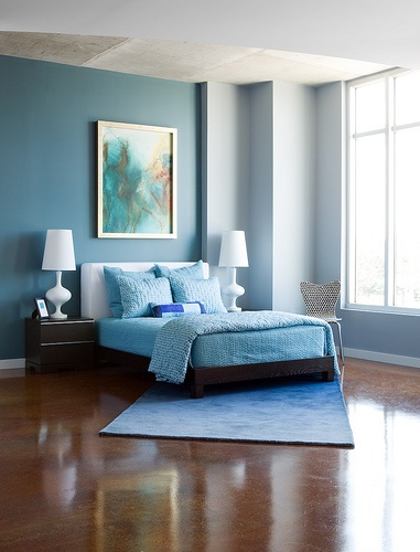 Top decor d co chambre coucher 15 idees de couleurs for Cuarto azul con gris