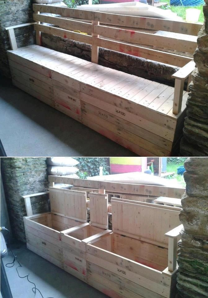Fabriquer Un Banc En Bois De Palette : Storage Bench Made From Pallets