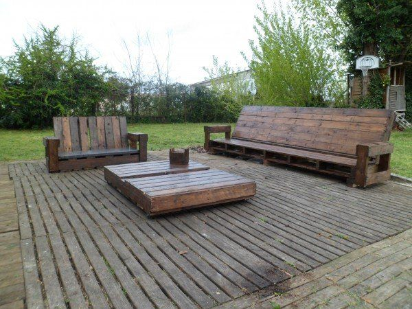 Salon de jardin en palette de bois bricobistro for Meuble patio en palette