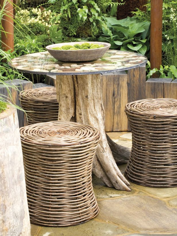 table de jardin en tronc d arbre