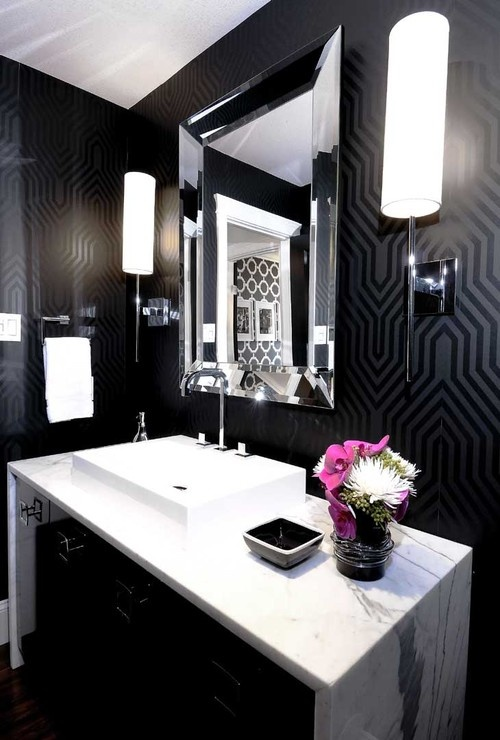 salle de bain noir et blanc id es design bricobistro. Black Bedroom Furniture Sets. Home Design Ideas