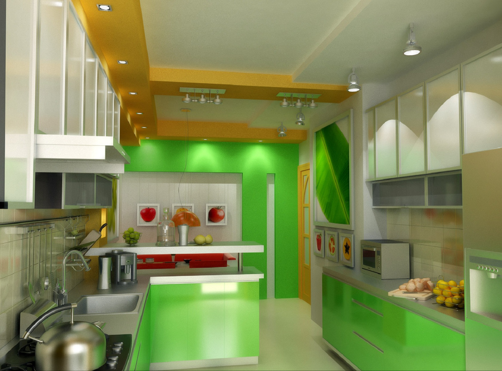 Une cuisine color block bricobistro for Green and white kitchen designs