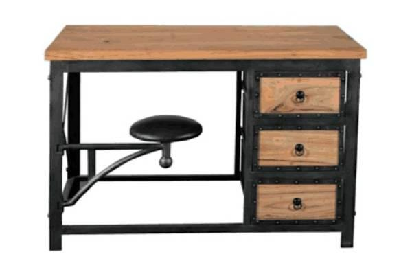 bureau bois et fer. Black Bedroom Furniture Sets. Home Design Ideas
