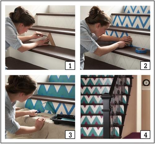 escalier peint deco diy
