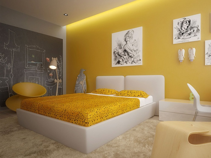 Chambre Design Jaune Orange : Déco chambre jaune orange