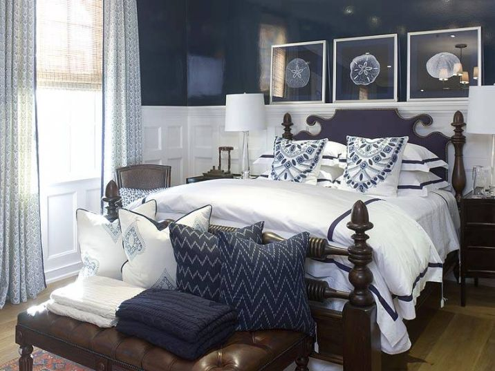 conseils d co pour une chambre coucher bleu marine bricobistro. Black Bedroom Furniture Sets. Home Design Ideas