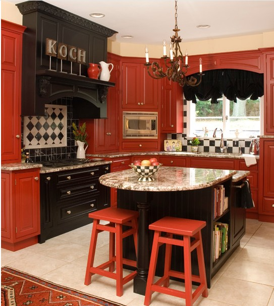 D co cuisine les couleurs chaudes l 39 honneur bricobistro for Kitchen designs red and black