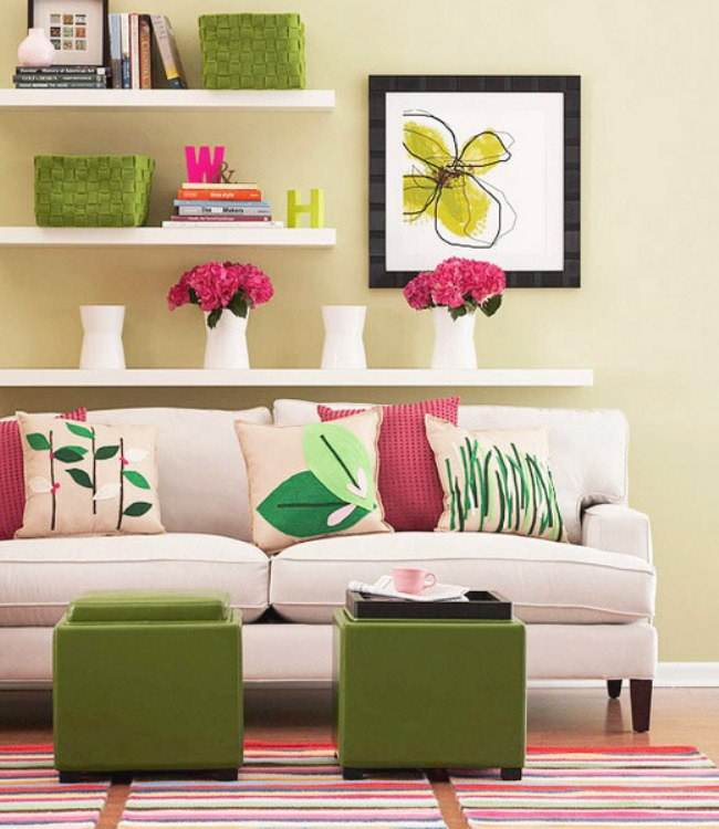Pretty Colorful Classic Living Room White Sofa Floral Cushion Design