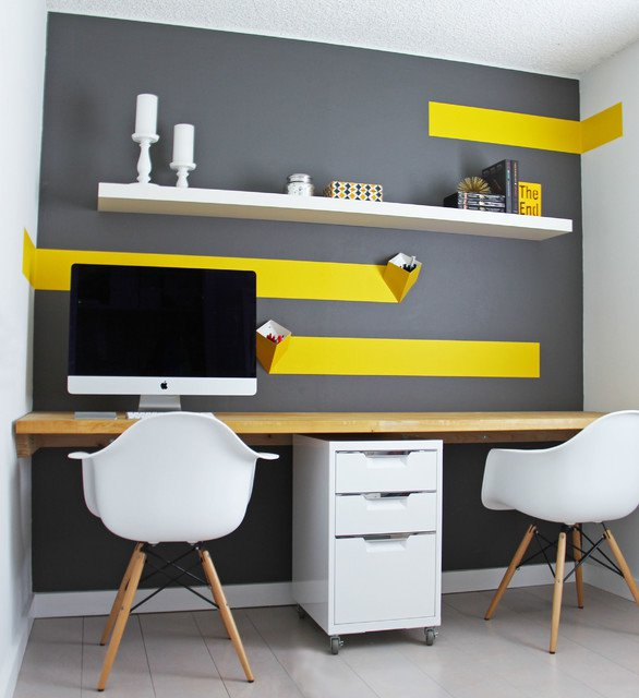 D co bureau gris et jaune for Decoration interieur bureau