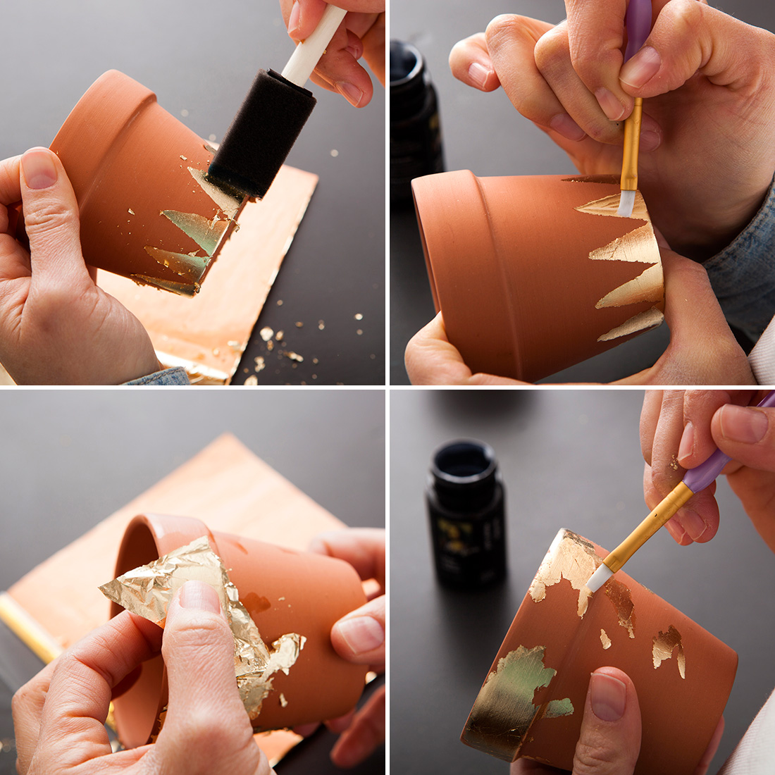 diy pot feuille or4