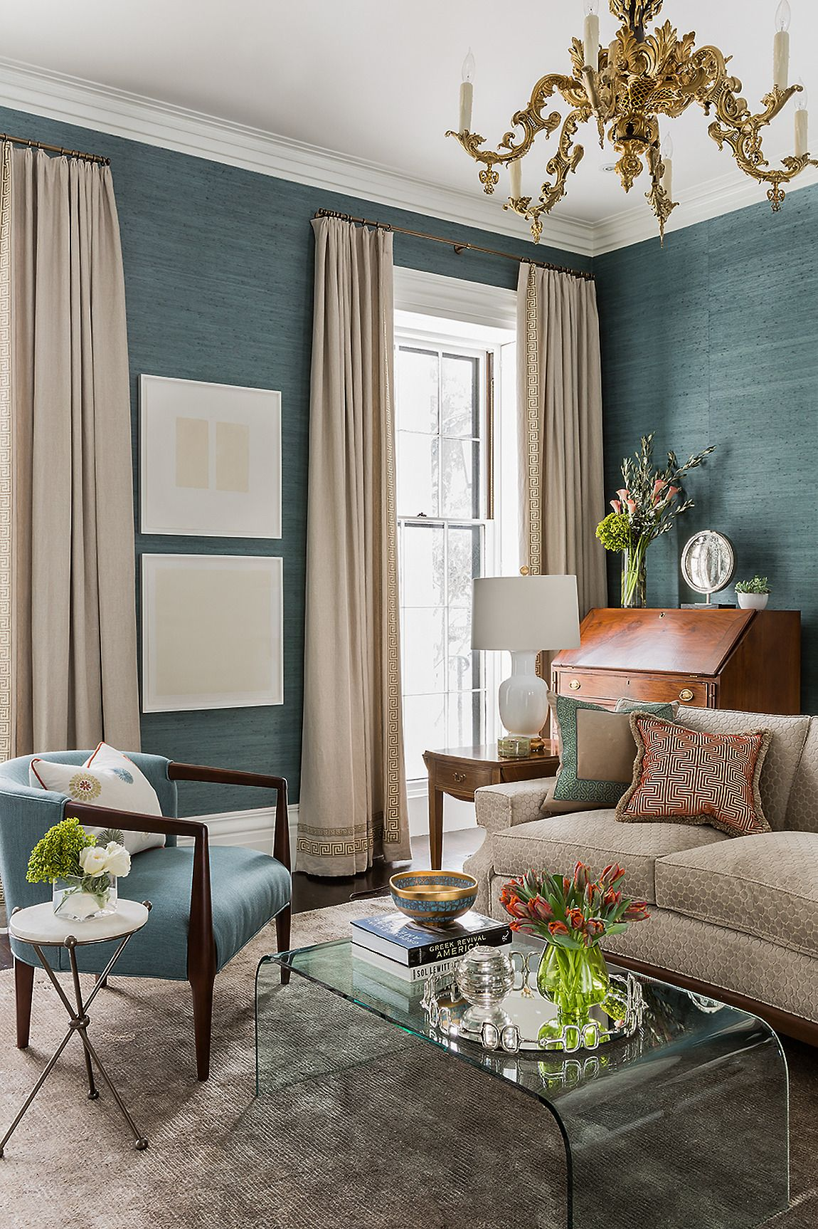 living room teal grasscloth wallpaper -#main