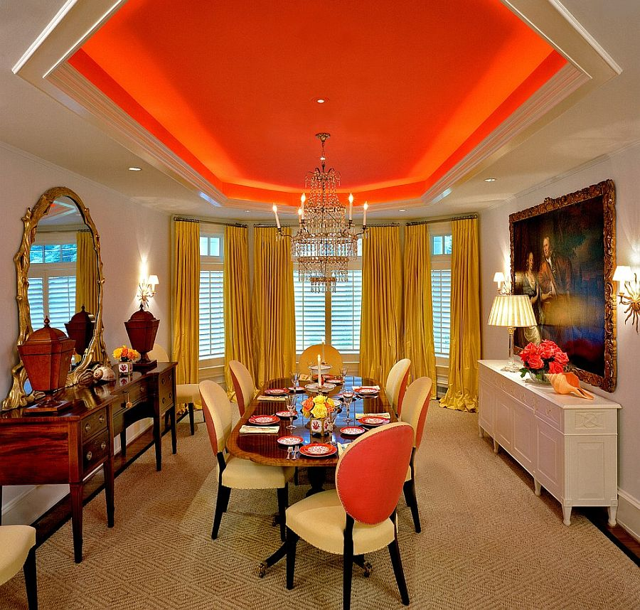 Red corer une salle manger avec la couleur orange for Orange dining room design ideas