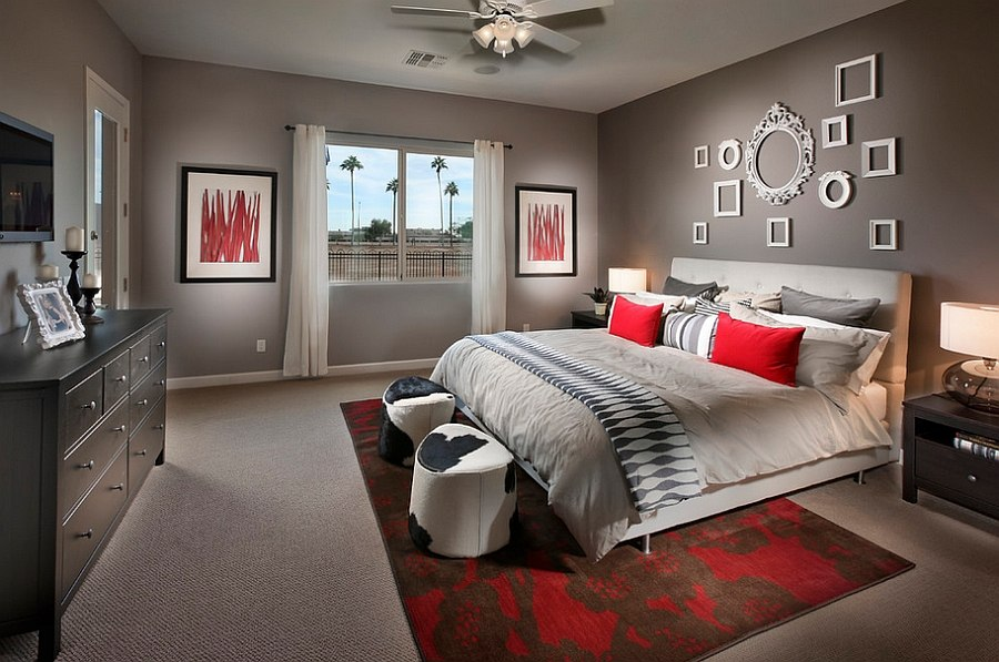 des d corations de chambres passionnantes en rouge et gris. Black Bedroom Furniture Sets. Home Design Ideas