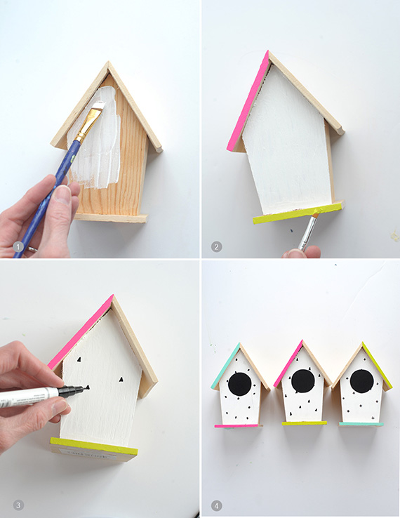 Nichoir En Bois A Peindre : DIY Bird Houses Hand Painted