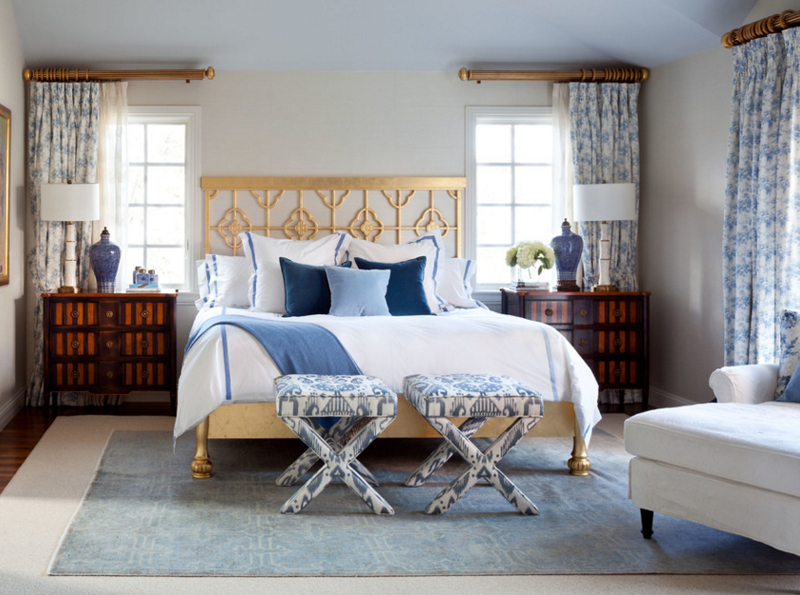 10 magnifiques chambres d cor es en bleu marine et dor. Black Bedroom Furniture Sets. Home Design Ideas