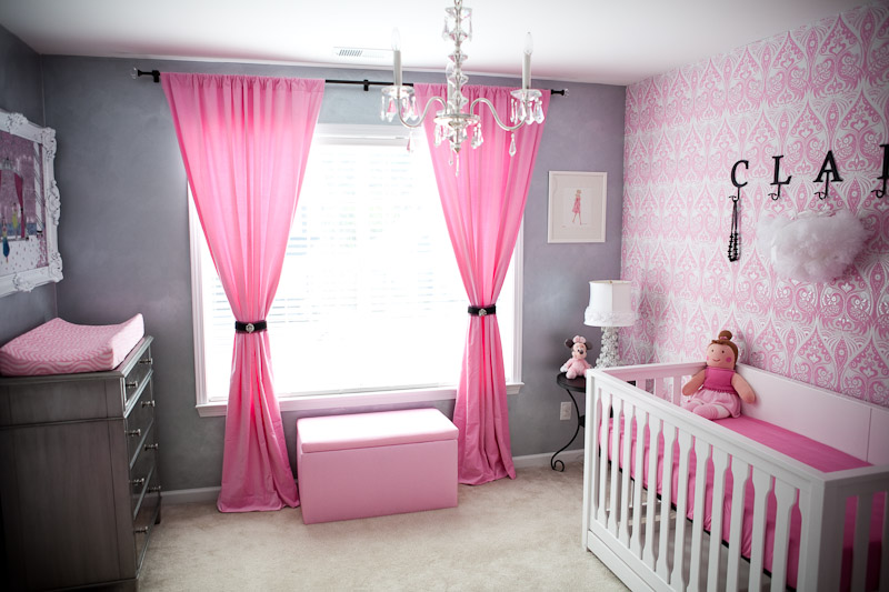 Femininie Baby Room Ideas with Pink Curtain and Wall Decor Used Crystal Chandelier Design for Home Interior Inspiration Decoration