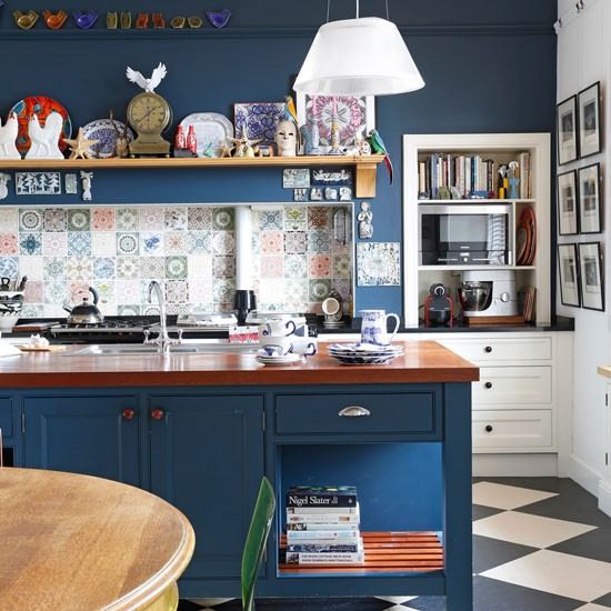 dark blue kitchen walls