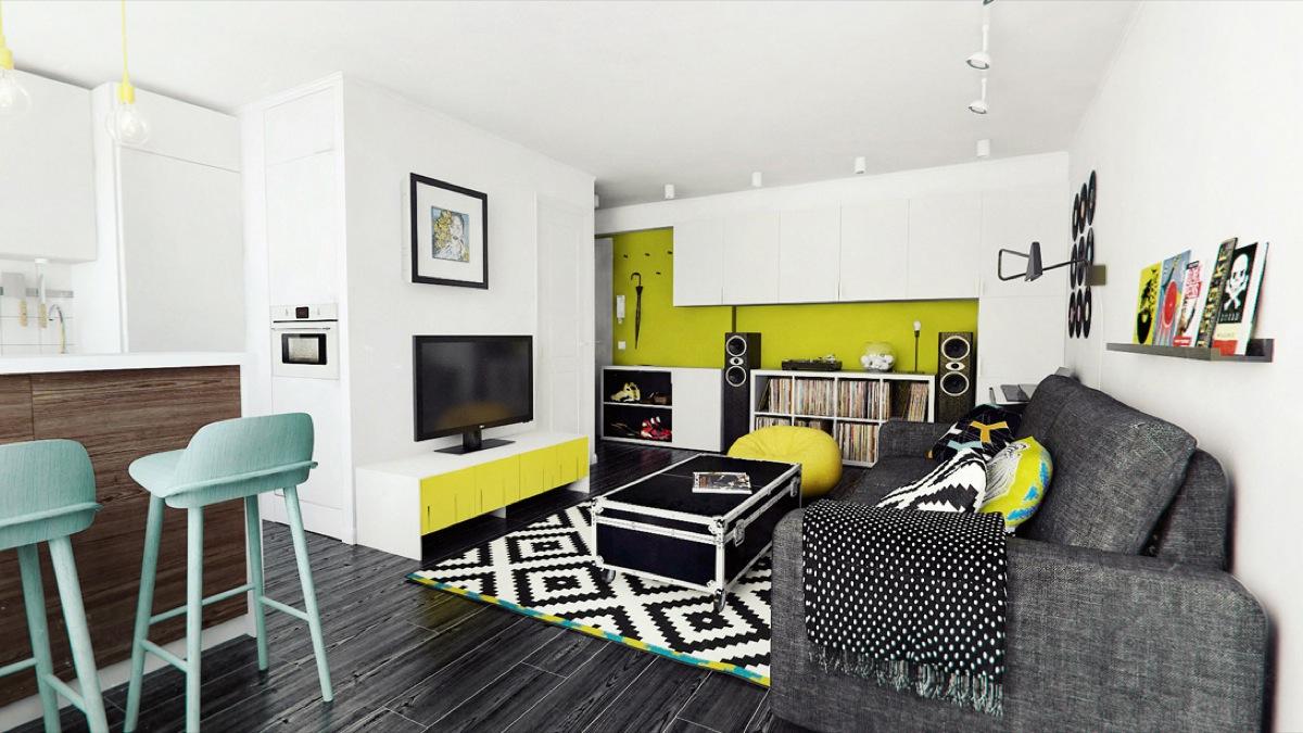 Comment r ussir une d coration avec le combo noir blanc et for Black white and lime green bedroom ideas