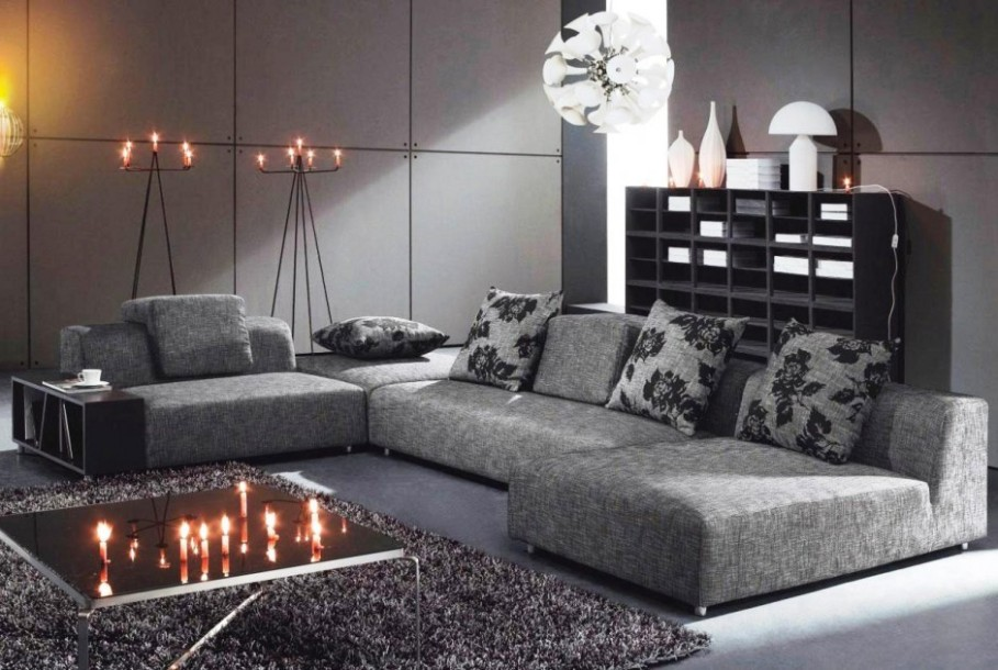 12 d corations de salon moderne en noir et gris pour for Meuble long salon