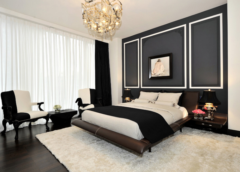13 fabuleux murs d 39 accents noir et blanc dans diverses chambres coucher bricobistro. Black Bedroom Furniture Sets. Home Design Ideas