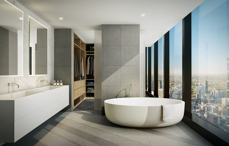 12 salles de bain impressionnantes avec de grandes fen tres vitr es bricobistro. Black Bedroom Furniture Sets. Home Design Ideas