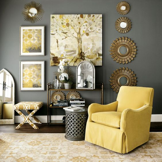peinture salon gris jaune avec des id es. Black Bedroom Furniture Sets. Home Design Ideas