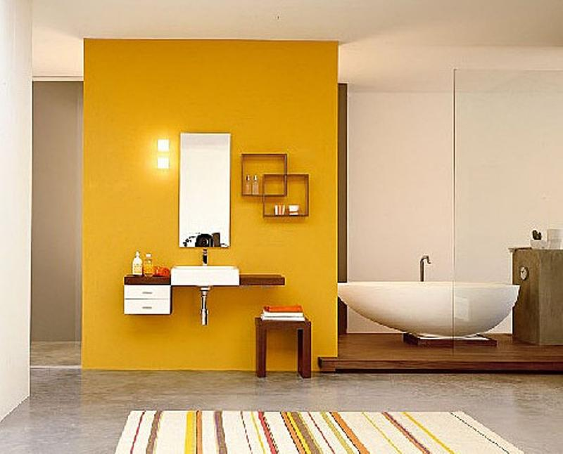 comment d corer une salle de bain cozy en jaune bricobistro. Black Bedroom Furniture Sets. Home Design Ideas