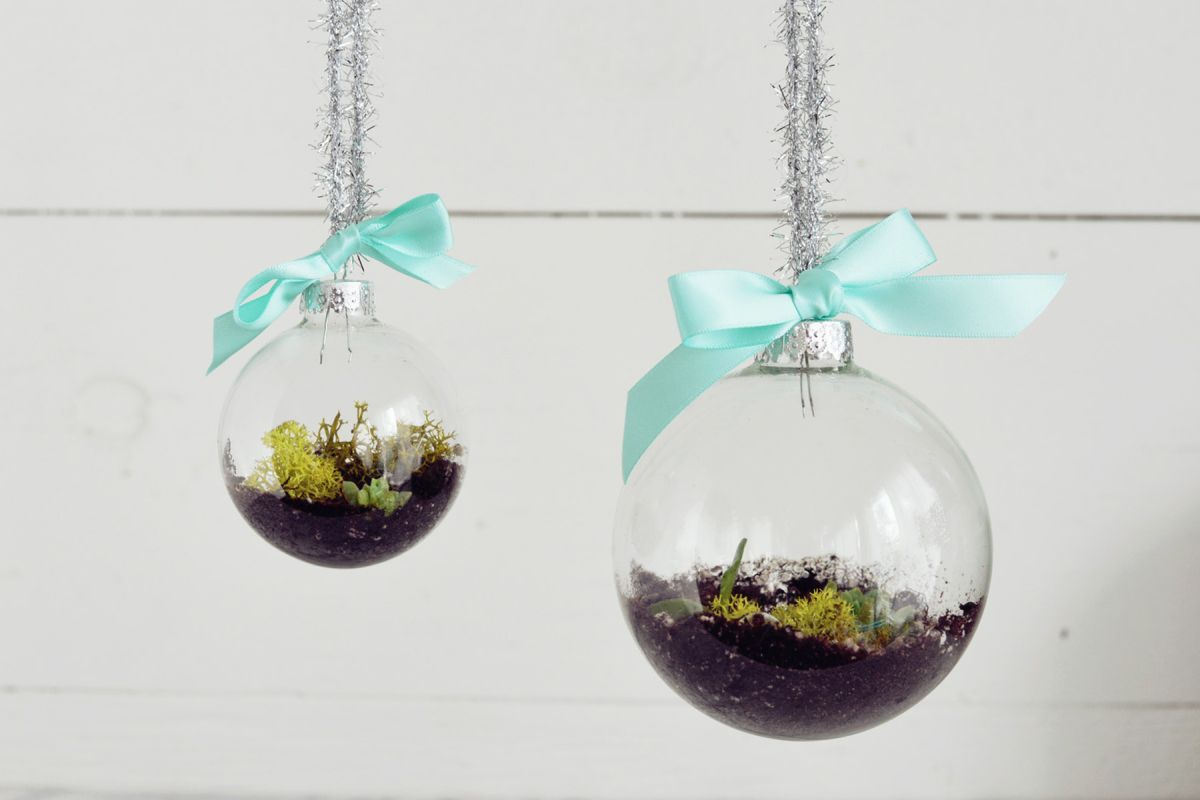 diy comment fabriquer un terrarium avec une boule de no l bricobistro. Black Bedroom Furniture Sets. Home Design Ideas