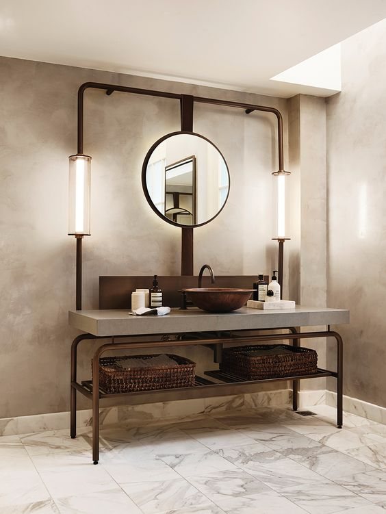 12 id es de meuble lavabo industriel et chic pour la salle. Black Bedroom Furniture Sets. Home Design Ideas